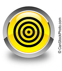 Target icon glossy yellow round button