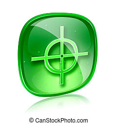 target icon green glass, isolated on white background.
