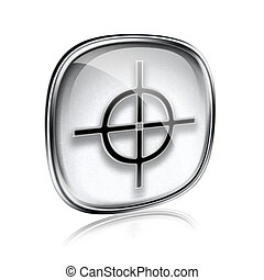 target icon grey glass, isolated on white background.