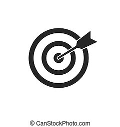 Target icon in black on a white background. Vector illustration.