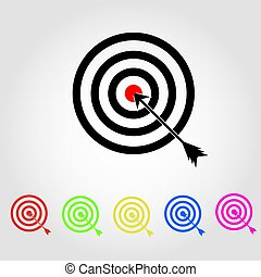 Target Icon in trendy flat style isolated on grey background. Aim symbol for your web site design, logo, app, UI. Vector illustration, EPS 10.