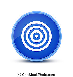 Target icon isolated on glassy blue round button abstract