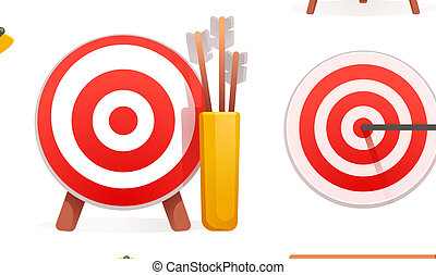 Target icon set, cartoon style