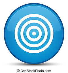 Target icon special cyan blue round button