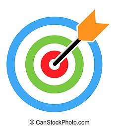 Target icon with arrow symbol for website etc. Web flat button, vector illustration