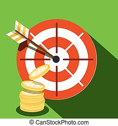 Target Icon with Dollar Coins. Vector Illustration.