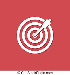 Target icon with shadow in a flat design on a red background