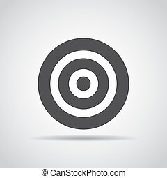 Target icon with shadow on a gray background. Vector illustration