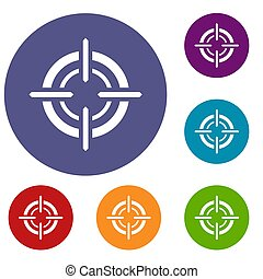 Target icons set in flat circle reb, blue and green color...