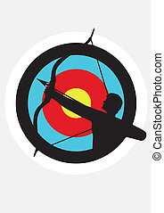 Target image with a silhouette of an archer superimposed on...