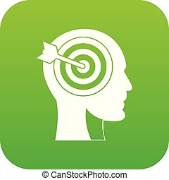 Target in human head icon digital green