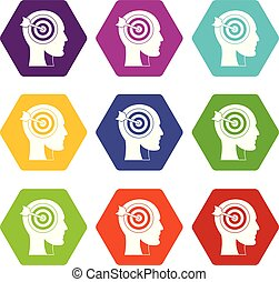 Target in human head icon set color hexahedron