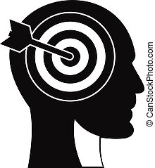 Target in human head icon, simple style
