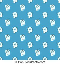Target in human head pattern seamless blue