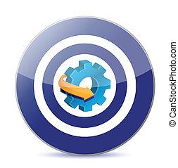 target industry concept gear illustration