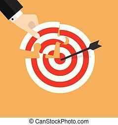 target., inserti, mancante, puzzle, mano, pezzo