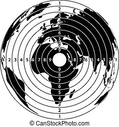 Target map of the earth