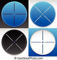 Target mark, cross hair set. Vector graphics.