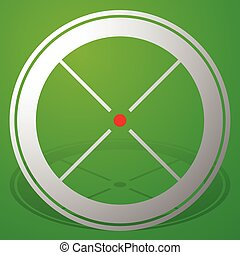 Target mark, crosshair, reticle icon with red dot