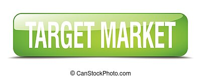 target market green square 3d realistic isolated web button
