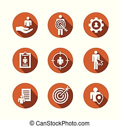 Target market icons of buyer image and persona - gear, arrow...