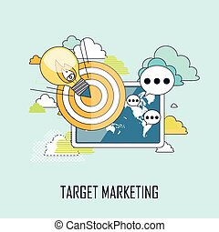 target marketing concept: a lighting bulb flying to a target...