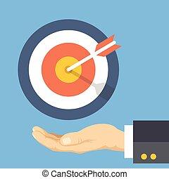 Target marketing flat illustration - Target marketing. Human...