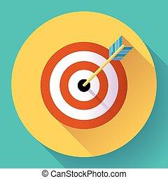 Target marketing icon. with arrow symbol. Flat vector design...
