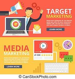 Target marketing, media marketing flat illustration abstract...