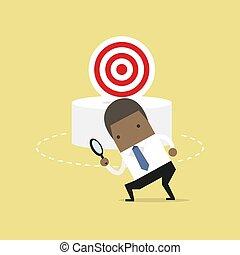 target., negócio, concept., lata, africano, não, homem negócios, achar