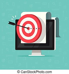 Target on computer display vector, success business aim or goal, digital marketing promotion, good online campaign or strategy, internet audience targeting, mission or plan achievement