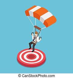target., pára-quedas, isometric, aterragem, homem negócios