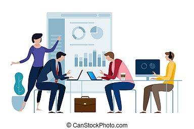 target., plano, estilo, informe, financiero, empresa / negocio, trabajando, explicar, juntos, aislado, ilustración, corporativo, results., director, vector, white., directores, board., cuarto, datos, realizando