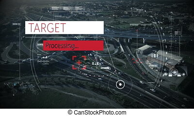Digital composite video of Target processing text on red and white banner against aerial view of cityscape