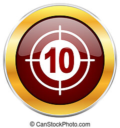 Target red web icon with golden border isolated on white background. Round glossy button.