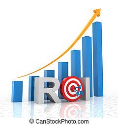 Target return on investment, 3d render