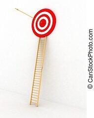 target., richtingwijzer, centrum, render, vrijstaand, het slaan, achtergrond, wit rood, 3d