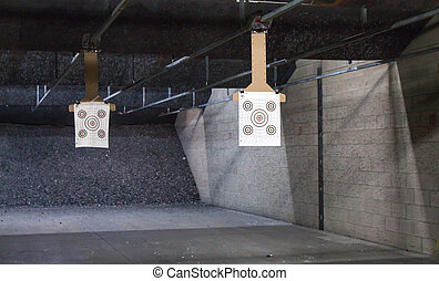 Target rows at a shooting range.