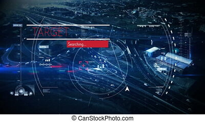 Digital composite video of Target text, Searching loading, scope scanning and data processing against cityscape background. Target searching concept.