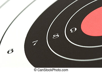 target sheet from firing range, angled macro with shallow depth of field