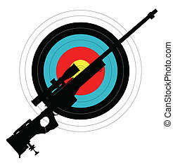 Target Shooting - Silhouette of a rifle against a target all...