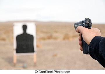 Target shooting with handgun