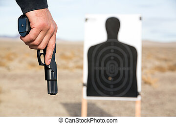 Target shooting with handgun