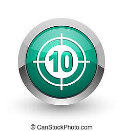 Target silver metallic chrome web design green round internet icon with shadow on white background.