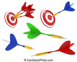 target., succès, coloré, dards