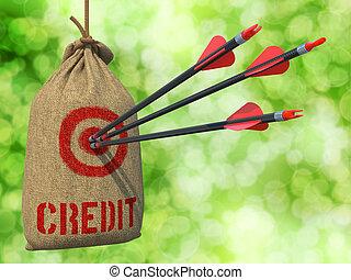 target., succès, flèches, -, crédit, rouges
