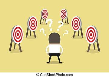 target., tâches, beaucoup, confondu, africaine, homme affaires