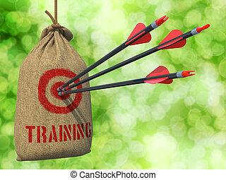 target., treinamento, golpe, setas, -, vermelho