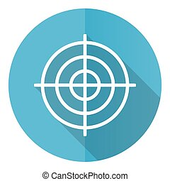 Target vector icon, flat design blue round web button isolated on white background