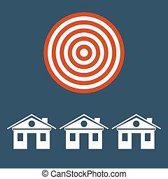 target., vrai, maison, symbole, propriété, signe, sous, investissements, construction.